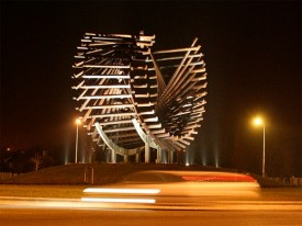 Polestar sculpture, Letterkenny at night. Fern Cottage is 11km from Letterkenny town.